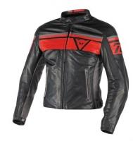 DAINESE BLACKJACK LEATHER JACKET - BLACK/RED/SMOKE куртка кож муж