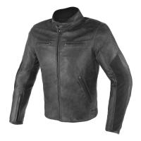 DAINESE STRIPES D1 LEATHER JACKET - BLACK/BLACK куртка кож муж