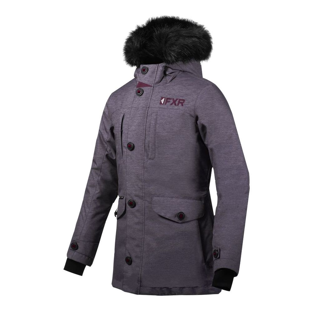 Парка FXR Svalbard с утеплителем Mid Grey Heather/Plum
