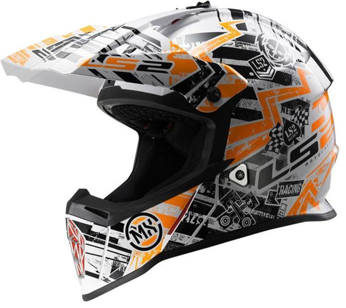 Мотошлем кроссовый LS2 MX437 FAST MINI GLITCH WHITE BLACK ORANGE