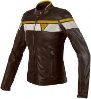 DAINESE BLACKJACK LADY LEATHER JACKET - DARK-BROWN/WHITE/GOLD куртка кож жен