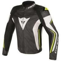 DAINESE ASSEN LEATHER JACKET - BLACK/WHITE/YELLOW-FLUO куртка кож муж