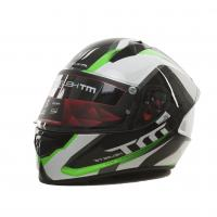 Мотошлем MT STINGER SPIKE Gloss Metallic Black White Fluor Green