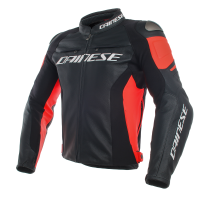 DAINESE RACING 3 LEATHER JACKET - NERO / NERO / ROSSO FLUO куртка кож муж