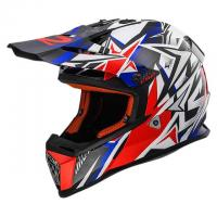 Мотошлем LS2 MX437 FAST MINI STRONG WHITE RED BLUE